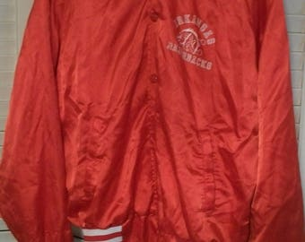 Arkansas Razorbacks Red Jacket Lightweight Satin Look  Adult  Medium Button Up Jacket  Needs Washing Machine Washable