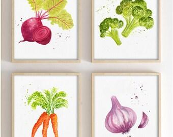 DISCOUNT SET Vegetables Illustrations, Watercolor.Kitchen Decor, Food Art  Print Dinning Room,
