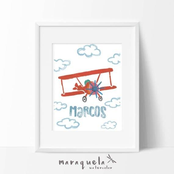 BIPLANO infantil y nubes, piloto aviador, retro.Ilustración personalizada con nombre