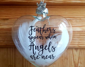 Glass Feather filled Heart Memorial  Bauble - Feathers Appear When Angels Are Near - family Loss gift - Glass Family Keepsake