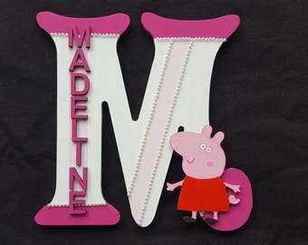 Handmade Peppa Pig Themed 3D Character Personalised Wall / Door Plaque Custom Made