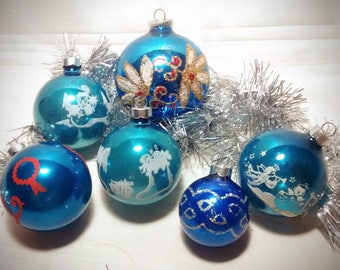 Vintage Blue Glass Christmas Ornaments – Collection of 6