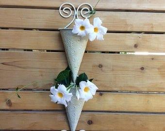 CANADA 150 SALE Vintage double cone wall planter. Metal wall vase. Cone shaped wall vase.