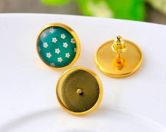 10pcs, 14mm Gold Plated Cabochon Stud Earring Settings, Golden Cabochons Bezel, DIY Earrings Supply, Comes With Bullet Style Ear Nuts