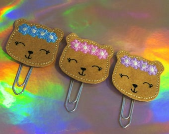 Flower-Crown Bear Felt Planner Clip
