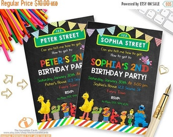 50% OFF SALE Sesame Street Invitation , Sesame St. Birthday Invitation, Elmo Invitation, Elmo, Big Bird, Cookie Monster, Abby Cadabby, Print