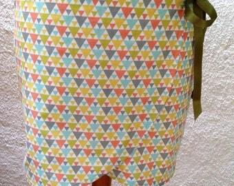 Geometric printed cotton wrap skirt