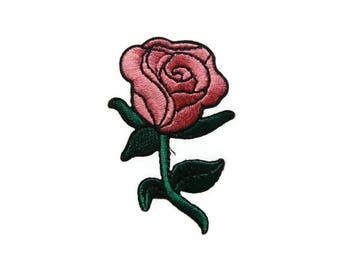 Pink Rose DIY Applique Iron on Patch