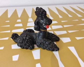 Super kitsch black Poodle ornament. Vintage 50s