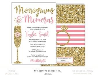 Monograms and Mimosas Bridal Shower Invitation - TAYLOR Collection - Mimosas & Monograms - Bridal Brunch Invitation - Monogram Brunch