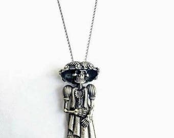 Silver Catrina (Dame of Death) pendant, Day of The Dead