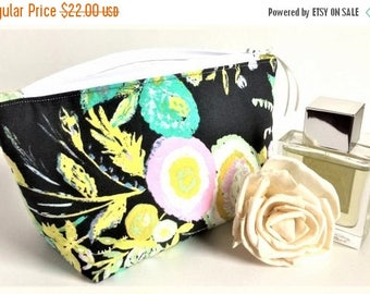 Gift for Her - Small Makeup Bag - Bridesmaid Gift - Small Cosmetic Bag - Floral Pouch - Birthday Gift for Women - Essential Oil Bag