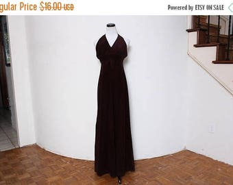 25% OFF VTG 70s Brown Halter Groovy Hippie Boho Maxi Dress XS/S