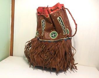 Bohemian Leather Bag, Leather Bag, Tribal Bag, Indian Bag, Leather Craft Pouch, Boot Bag, Medicine Bag, Ethnic Bag, Tassel Fringe Bag