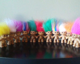 "Vintage Russ Troll Dolls, BEST SELLER, 3"" Naked Trolls, Good Luck Troll Doll, Yellow Orange Pink Red Purple Green White Blue Rainbow hair"