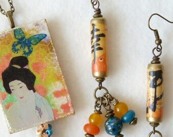 Asian Womens Jewelry Sets, Japanese Geisha, Chinese Calligraphy, Dangle Earrings, Chinese Earrings, Pendant Necklace, Handmade Jewelry