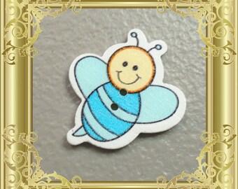 Bee Cross Stitch Needle Minder - Blue