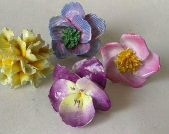 FREE SHIPPING Vintage Ceramic Roses, Fine Bone China, Craft Supplies, Jewelry Supplies, Mosaic Supplies