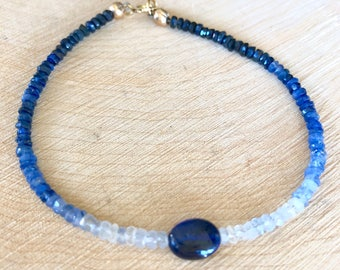 Shaded Blue Genuine Sapphire Bracelet, Delicate Beaded Gemstone Jewelry, Genuine Sapphire 14k gold filled bracelet