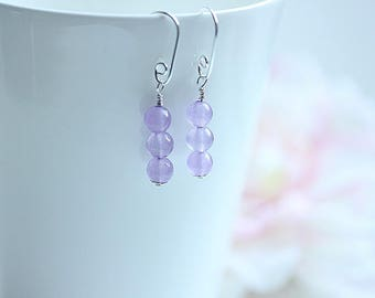 Purple Drop Earrings, Jade Dangle Earrings, Silver Drop Earrings, Purple Jewelry, Purple stone, Gemstone earrings, Jade Jewelry,Gift for her