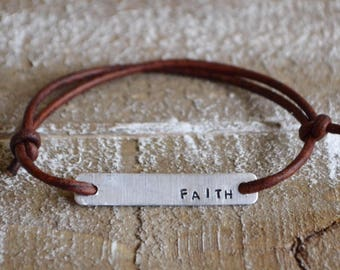 Faith bracelet, leather wrap bracelet, best friend bracelet, stamped bracelet, leather bracelet, womens bracelet, custom bracelet
