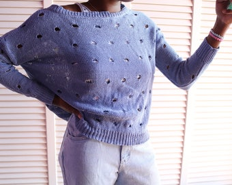Retro Periwinkle Distressed Sweater