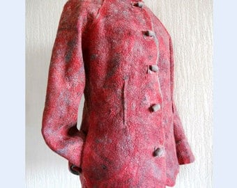 Felted merino jacket, Women coat, Nuno felted jacket, Designer jacket, Merino wool red jacket, Eco-fashion, Gift for her,  Free shipping