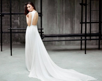 "Long backless wedding dress ""Ida"" - Chiffon and lace low back bridal gown, Deep plinging v neckline dress, Open back chiffon dress, Milamira"