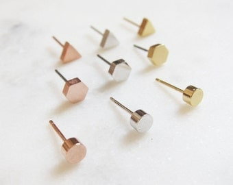 GOLDEN Ohrstecker MINI- Messing gold plattiert/ rose-gold plattiert/rhodium plattiert
