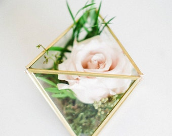 Wedding Centerpiece - Glass Geometric Terrarium - Wedding Decorations - Geometric Candles - Terrarium - Small Octahedron - Christmas Gift