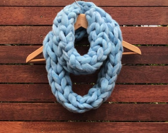 Blue limited edition handmade super chunky infinity scarf.  Finger knit in unspun pure Australian wool. Super soft luxurious winter scarf