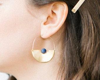 Float Earrings - Sterling Silver or Bronze - Moonstone or Lapis Lazuli