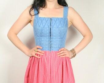 Vintage 50s 60s dirndle dress pink blue S