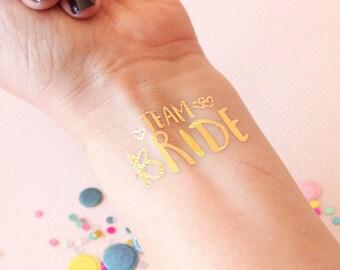 Set of 15 team bride bachelorette tattoo, bachelorette party favor, bride tribe, flash tat, bridesmaid gift, metallic tattoo