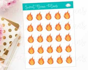 Kawaii Fire Flames Planner Stickers