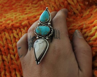 Size 6 3/4 Turquoise and white buffalo ring
