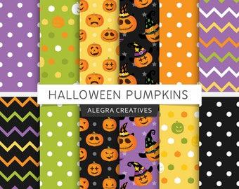 Halloween digital paper, pumpkins, fun, witch, spooky, purple, green, orange, holiday, party, scrapbook papers (Instant Download)