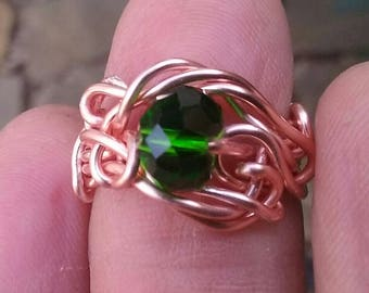 Wire Jewelry, Ring, Handmade- Green Crystal Bead and Rose Gold Wire Design, Size 5.