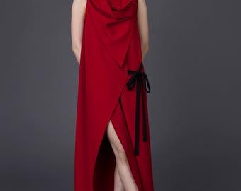 Evening dress woman / Red evening dress / Evening dress /Extravagant dress / Maxi summer dress / Long asymmetric dress / Asymmetrical dress