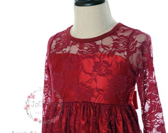 JOLIJOLIES Burgundy Lace Flower Girl Long Sleeves Dress Lace Bow Ribbon Sash Children Christmas Party Birthday Soft Wedding
