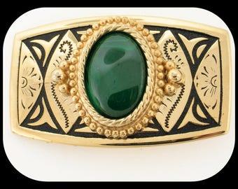 Vintage Massive Southwestern Design Belt Buckle Gold Plated & Green Stone
