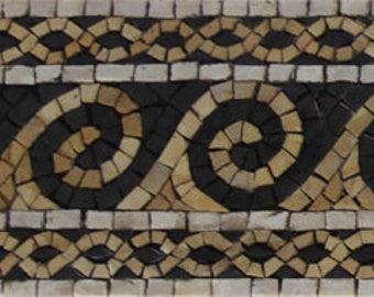 "Waves Border Runner Listello 39""x5"" Home Art Interior Design Marble Mosaic BD344"