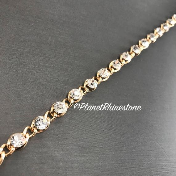 Gold Crystal Chain Trim  #T-F