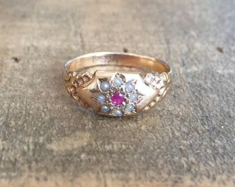 Antique Ruby and Seed Pearl Ring