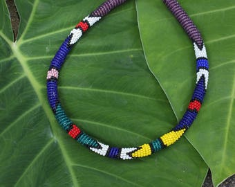 Vintage Native American Multi-colored Beaded Choker, Southwestern, Handmade, Colorful Rope Necklace, Seed Bead