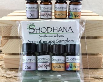 Custom blended essential oil sampler set. 4 - 2.3ml bottle set, essential oils