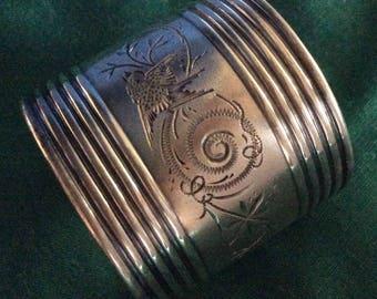 Aesthetic Engraved Bird Sterling silver Napkin Ring Serviette Holder for Frank