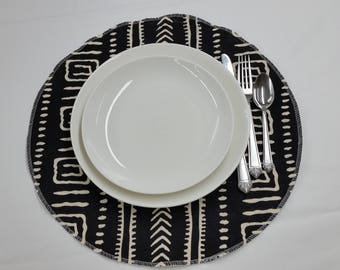 Round placemats, cotton table linens, African mudcloth print, black and ivory
