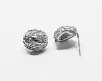E0019-1/Anti-tarnished Matt Rhodium Plating Over Brass+Sterling Silver Post/Walnut Stud Earrings/11x13mm/2pcs