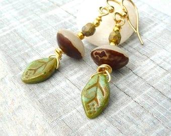 bohemian leaf earrings, botanical natural earrings, earthy earrings, woodland, earthy, picasso glass bead earrings, gift for her